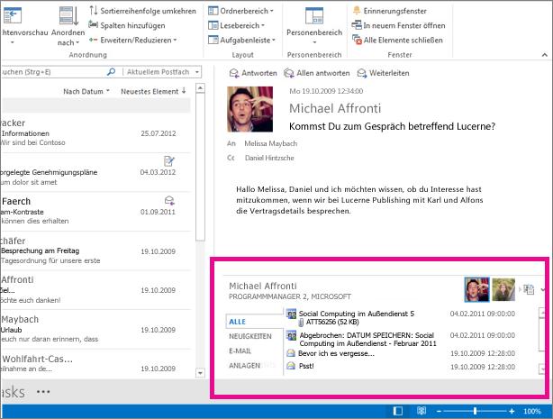 Outlook Connector für soziale Netzwerke, nachdem er erweitert wurde