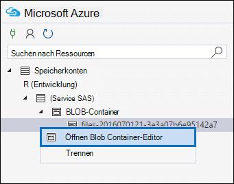 """Klicken Sie mit der rechten Maustaste auf den Datei- oder Manifestcontainer, und klicken Sie dann auf """"BLOB-Container-Editor öffnen""""."""