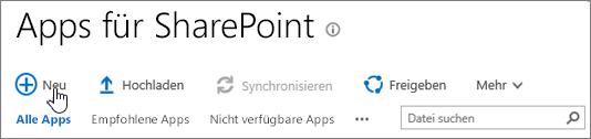 """SPO-App-Katalog von SharePoint mit hervorgehobener Schaltfläche """"Neu"""""""