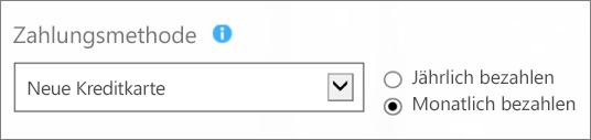 """Screenshot des Abschnitts """"Zahlungsmethode"""" auf der Seite """"Wie möchten Sie bezahlen?"""" mit aktivierten Optionen """"Neue Kreditkarte"""" und """"Monatlich bezahlen""""."""