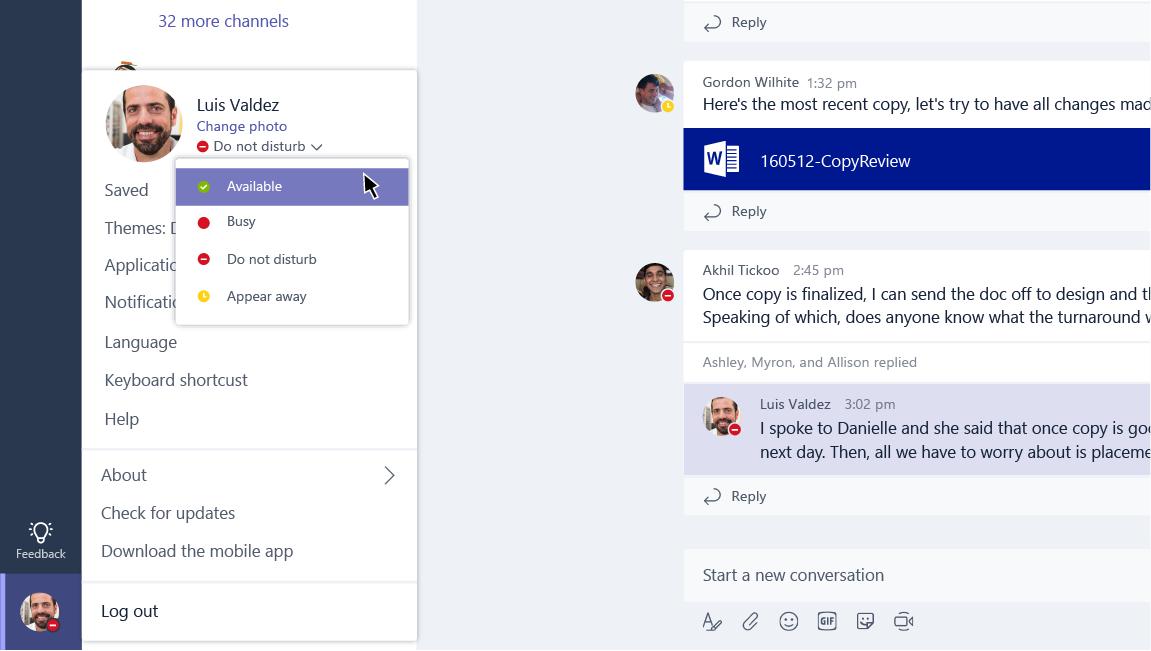 Dieser Screenshot zeigt die Statusoptionen für einen Benutzer.