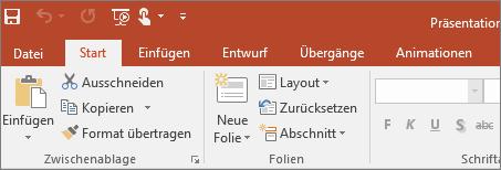 Abbildung des Menübands im farbigen Design in PowerPoint 2016