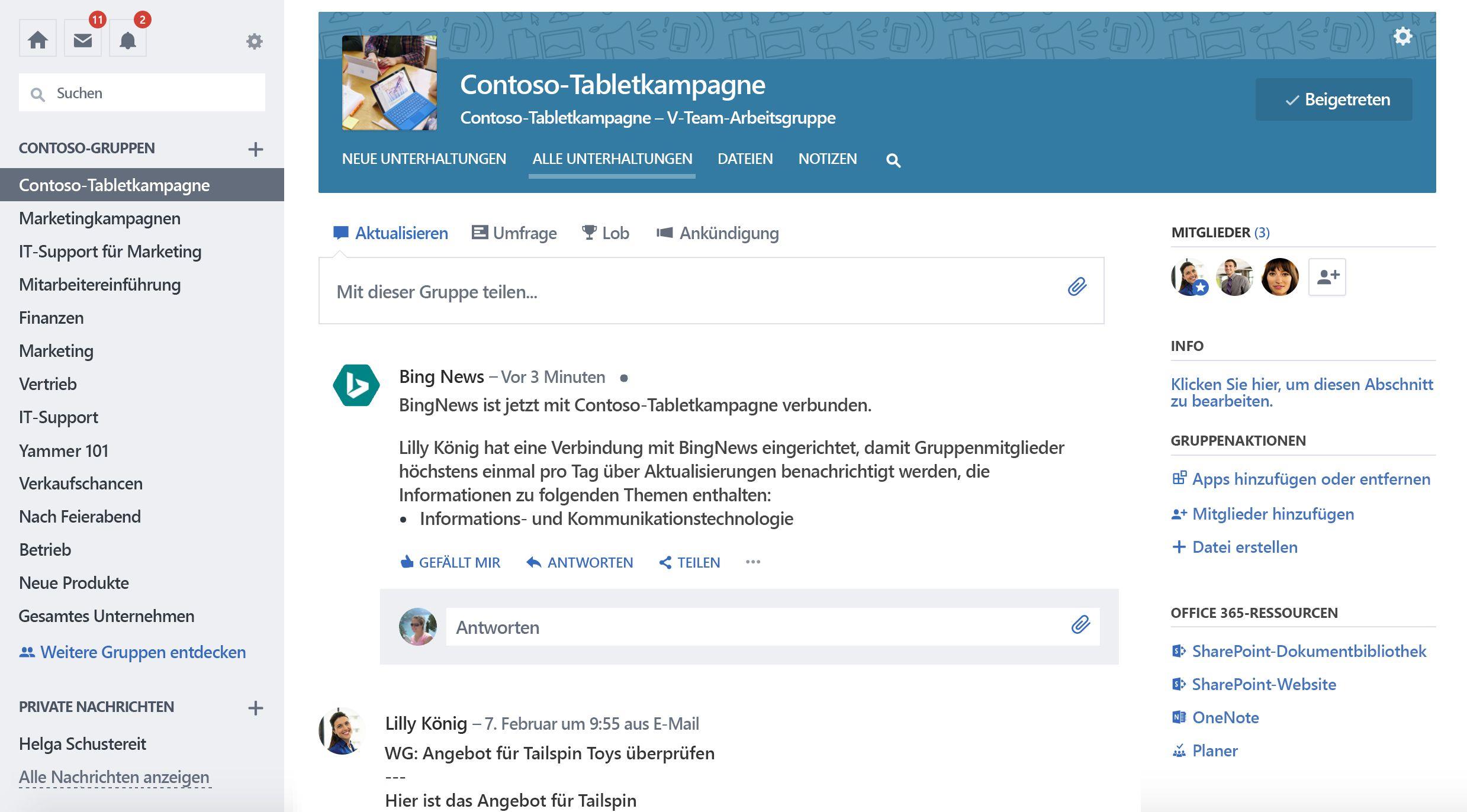 Screenshot der Office 365 verbunden Yammer-Gruppe mit neue Verbindung.