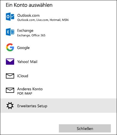 Wählen Sie ein Kontodialogfeld aus, in dem eine Liste mit E-Mail-Diensten angezeigt wird.
