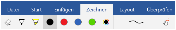 "Screenshot der Registerkarte ""Zeichnen"" in Word Mobile für Windows 10"