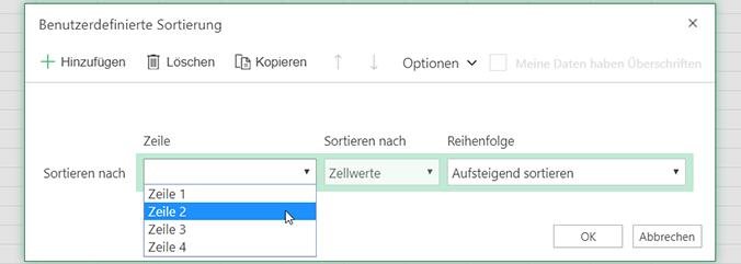 Die Dropdownliste im Dialogfeld für benutzerdefinierte Sortierung ist geöffnet, wenn Sie die Sortierung von links nach rechts auswählen