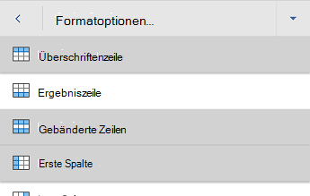 """Word für Android-Menü """"Optionen für Tabellenformatvorlagen"""""""