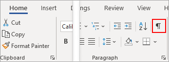 """Auf der Registerkarte """"Start"""" ist das Symbol """"Einblenden/Ausblenden"""" hervorgehoben."""