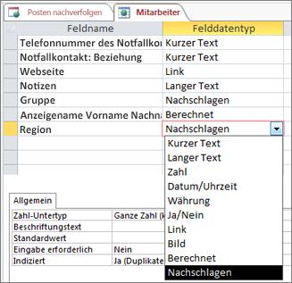 Festlegen des Datentyps 'Nachschlagen' für ein Nachschlagefeld