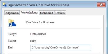 Ordnereigenschaften für synchronisierten OneDrive for Business-Bibliotheksordner