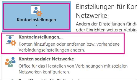 """Wählen Sie """"Datei"""" > """"Kontoeinstellungen"""" > """"Kontoeinstellungen"""" aus, um Ihr Gmail-Konto zu entfernen."""