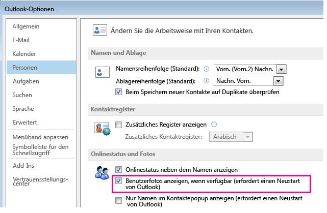 """Screenshot des Outlook-Fensters """"Optionen"""" mit aktiviertem Kontrollkästchen """"Fotos aktivieren"""""""