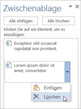 Zeigt das Löschen eines kopierten Elements aus der Zwischenablage.