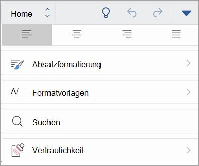 """Screenshot der Schaltfläche """"Vertraulichkeit"""" in Office für IOS"""