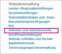 """Abschnitt """"Websites und Arbeitsbereiche"""" der Seite """"Websiteeinstellungen"""""""