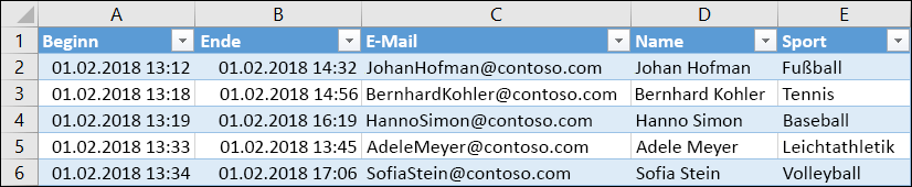 Excel-Arbeitsmappe mit Umfrageergebnissen