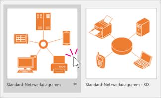 Miniaturansichten von standardmäßigen Netzwerkdiagrammen