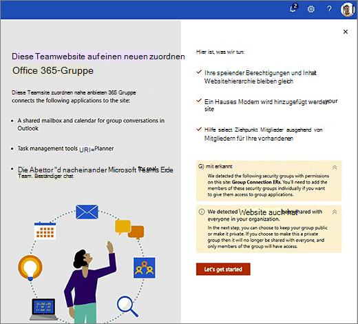 Dieses Bild zeigt den ersten Bildschirm des neuen Office 365-Erstellungs-Assistenten.
