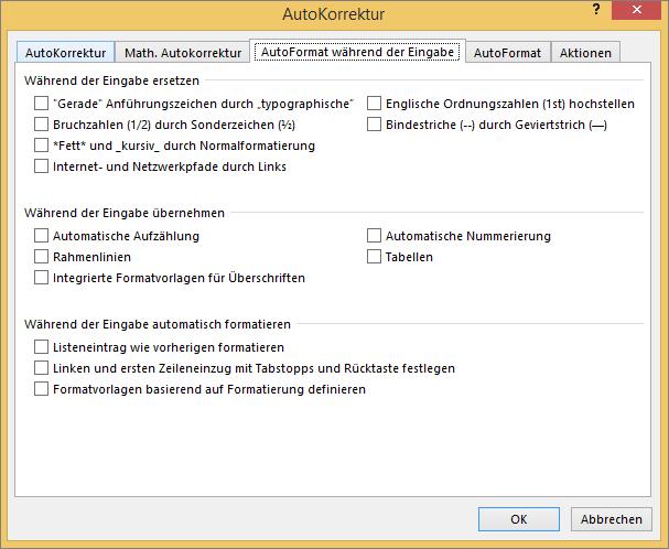 """Registerkarte """"AutoFormat während der Eingabe"""" mit deaktivierten Optionen"""