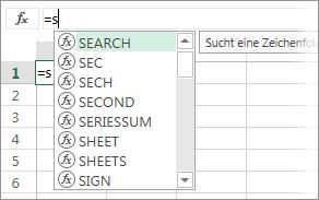 Liste von AutoVervollständigen für Formeln