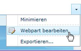 Auf 'Webpart bearbeiten' klicken