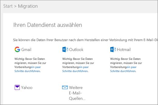 Wählen Sie den e-Mail-Dienst