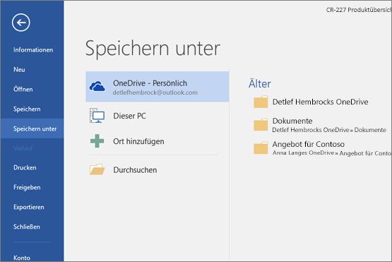 """""""Speichern unter"""" mit Standardeinstellung """"OneDrive"""""""