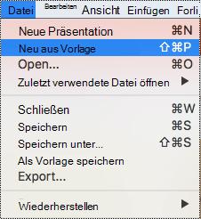 Die Seite Vorlagen in PowerPoint für Mac