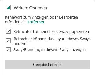 """Option """"Kennwort entfernen"""""""