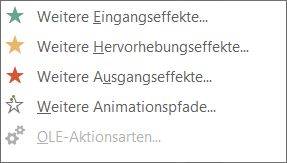 Weitere Animationseffekte in PowerPoint