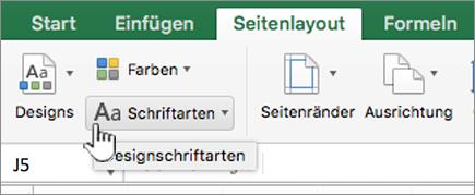 Klicken Sie auf der Registerkarte Layout Designschriftarten