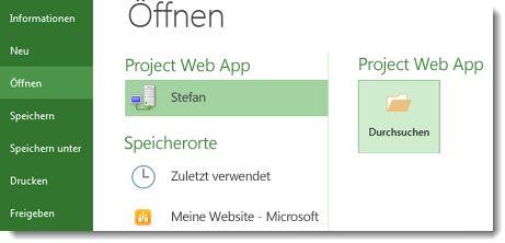 Schaltfläche 'Durchsuchen' zum Öffnen einer Project Web App-Datei