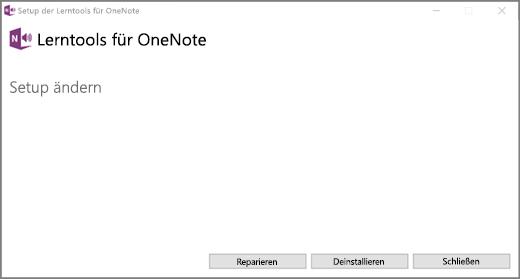 Wählen Sie reparieren aus, klicken Sie unter Tools für OneNote zu lernen.