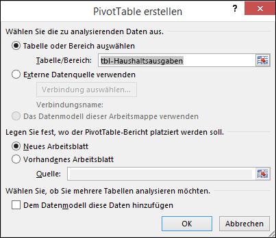 "Excel-Dialogfeld ""PivotTable erstellen"""