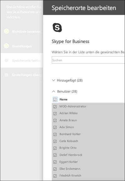 Seite zum Auswählen von Skype-Benutzern