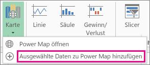 Ausgewählte Daten zu Power Map hinzufügen (Befehl)