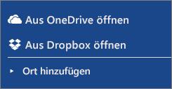 """Bild, das Dropbox und OneDrive im Abschnitt """"Orte"""" im Word Online-Arbeitsbereich zeigt"""