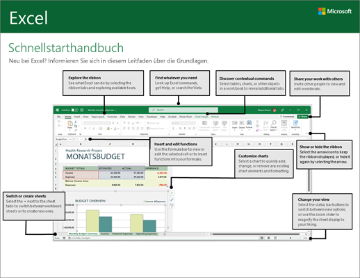 Excel 2016 – Schnellstarthandbuch (Windows)