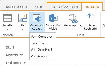 """Screenshot des SharePoint Online-MenübandsWählen Sie die Registerkarte """"Einfügen"""" und dann """"Video und Audio"""" aus, um anzugeben, ob eine Datei von Ihrem Computer, einem SharePoint-Speicherort, über eine Webadresse oder einen Einbindungscode hinzugefügt werden soll."""