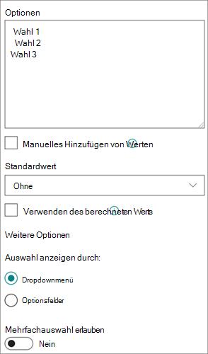 Optionen für Auswahl Spalten in der modernen Benutzeroberfläche