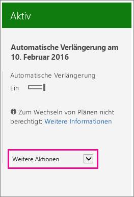"""Screenshot der Abonnementseite mit hervorgehobener Liste """"Weitere Aktionen"""""""