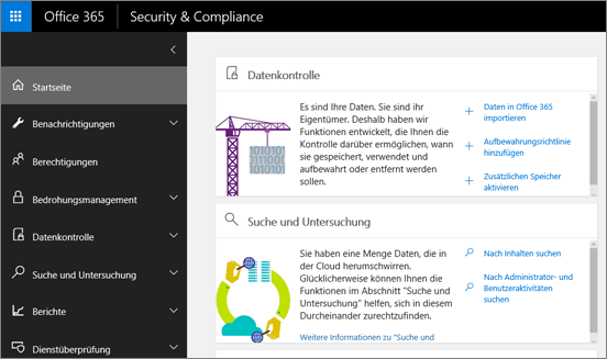 Office 365 Security & Compliance Center-Homepage