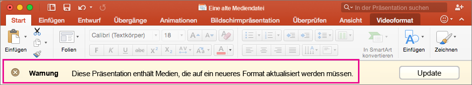 Altes Medienformat in PowerPoint 2016 für Mac