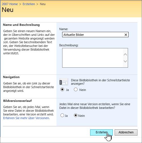 Ausfüllen von Name, Beschreibung, Navigation und Versionsverwaltung für eine Bildbibliothek