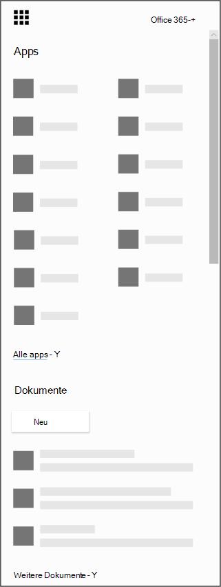 Das Office 365-App-Startfeld