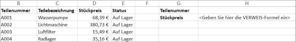 Ein Beispiel dafür, wie Sie die VERWEIS-Funktion verwenden könnten