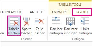 """Abbildung der Schaltfläche """"Löschen"""" auf der Registerkarte """"Layout"""" unter """"Tabellentools"""""""