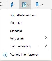"""Schaltfläche """"Vertraulichkeit"""" und Dropdownmenü in Office im Web"""