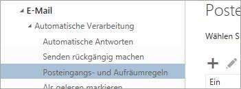 """Screenshot von Posteingangs- und Aufräumregeln im Menü """"Optionen"""""""