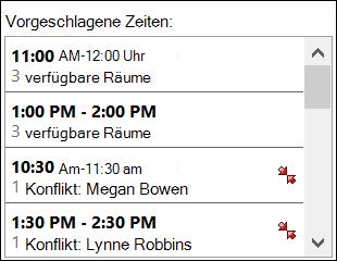 Verwenden Sie die Datumsauswahl vorgeschlagene Zeiten um zu sehen, wenn ein Teilnehmer verfügbar sind.